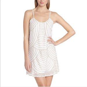 Parker Kate Sequin Embellished Mini Dress White